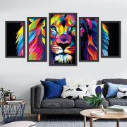 Quadro Decorativo Leão Moderno  com moldura Para Sala 5 peças