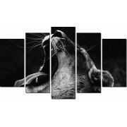 Quadro Decorativo Leão Preto no Branco 5 peças
