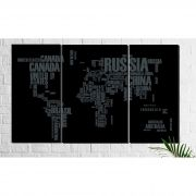 Quadro Decorativo Mapa Mundí Preto Países 3 peças