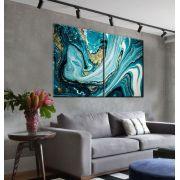 Quadro Decorativo mármore ônix azul  abstrato