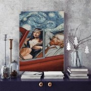 Quadro Decorativo Mona Lisa e Van Gogh