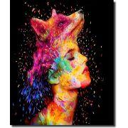 Quadro Decorativo Mulher com lobo colorido moderno