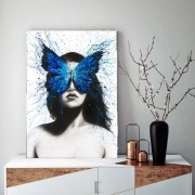 Quadro Decorativo Mulher e Borboleta Azul