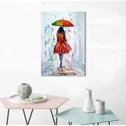 Quadro Decorativo Mulher Na Chuva Colorida
