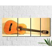 Quadro Decorativo Musical Violão 4 peças