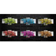 Quadro Decorativo Paisagem Arvore Com Flores Coloridas 5 Peças Para Sala 180x60