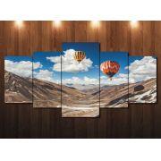 Quadro Decorativo Paisagem Balão com Montanhas 5 peças
