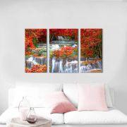 Quadro Decorativo Paisagem Cascata na Floresta 3 peças