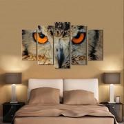 Quadro decorativo paisagem coruja para quartos e salas 5 peças