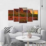 Quadro Decorativo Paisagem Deserto Por do Sol 5 peças