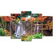Quadro Decorativo Paisagem Floresta Com Cachoeira 5 Peças