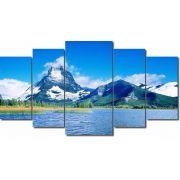 Quadro Decorativo Paisagem Lago Com Montanhas 5 Peças M3