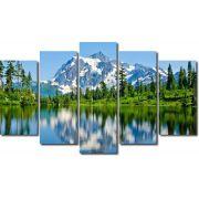 Quadro Decorativo Paisagem Lago Com Montanhas 5 Peças