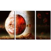 Quadro Decorativo Paisagem Lua Vermelha 3 Peças