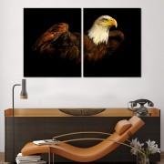 Quadro decorativo paisagem pássaro águia para quartos e salas 2 peças