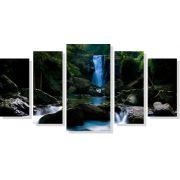 Quadro Decorativo Paisagem Riacho com cachoeira 5 peças M2