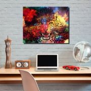 Quadro Decorativo para Escritório Tigre Colorido 1 peça