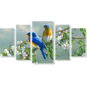 Quadro Decorativo Pássaros com flores 5 peças