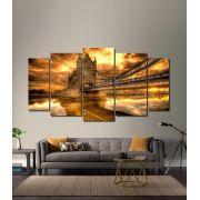 Quadro Decorativo Ponte e Castelo Dourado 5 peças