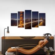 Quadro Decorativo Ponte Golden Gate 5 peças