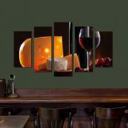 Quadro Decorativo Queijo e Vinho 5 Peças Para Sala Quarto