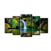 Quadro decorativo sala 5 peças paisagem cachoeira