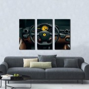 Quadro Decorativo Volante de Ferrari 3 Peças