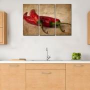 Quadro Pimentas vermelhas fundo vintage decorativo kit 3 peças
