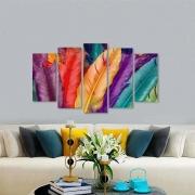 Quadro pluma abstrato colorido decorativo