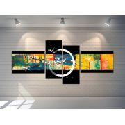 Quadros Abstratos Decorativo  Grande 189cm amarelo com preto