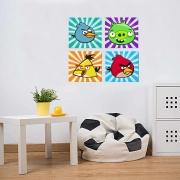 Quadros Decorativo Infantil Angry Bird kit 4 peças