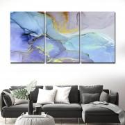Quadros Decorativos Abstrato azul com dourado