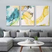 Quadros Decorativos Abstrato Marmorizado Azul e amarelo