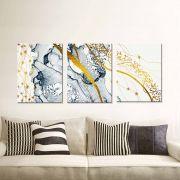 Quadros Decorativos Abstrato Marmorizado Azul Gold