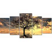 Quadros Decorativos Arvore da Vida para Sala 5 peças 160x80
