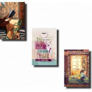 Quadros Decorativos Books 3 peças