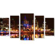 Quadros Decorativos Cidade de Hongkong para Sala 5 peças