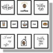 Quadros Decorativos Coffe 11 peças