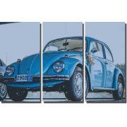 Quadros Decorativos Fusca Azul para Sala 3 peças