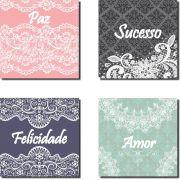 Quadros Decorativos Kit 4 Peças Frases Com Renda