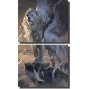 Quadros Decorativos Leão Alado para Sala 2 peças