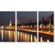 Quadros Decorativos Luzes da Cidade para Sala 3 peças