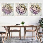 Quadros Decorativos Mandala aquarelada mística  3 Peças Sala