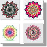 Quadros Decorativos Mandala para Sala 4 peças
