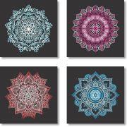 Quadros Decorativos Mandala para Sala 4 peças m2