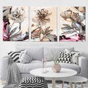 Quadros Decorativos Marmorizado Flores