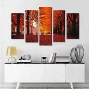 Quadros Decorativos Paisagem Outono 5 peças