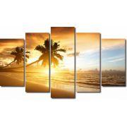 Quadros Decorativos Paisagem por do sol  praia 5 peças