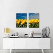Quadros Decorativos Paisagem Tulipa Amarela 2 Peças Para Sala