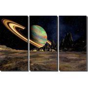 Quadros Decorativos Planeta Saturno 3 peças